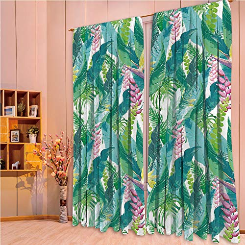 (ZHICASSIESOPHIER Darkening Thermal Insulated Short Curtain Adjustable Tie Up Shade Panel for Small Window,Rod Pocket,Island with Flowers Plumeria Lilac Image Decorative 84Wx84L Inch)