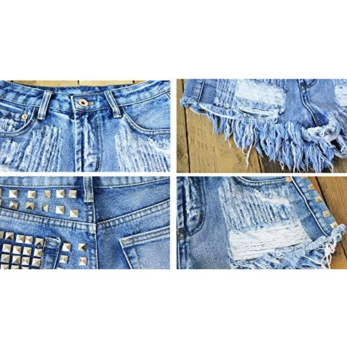 dcdd4e3ffadd Allonly Women s Sexy Cut Off Destroyed Ripped High Waisted Relaxed Fit Denim  Shorts Jean Shorts Hot