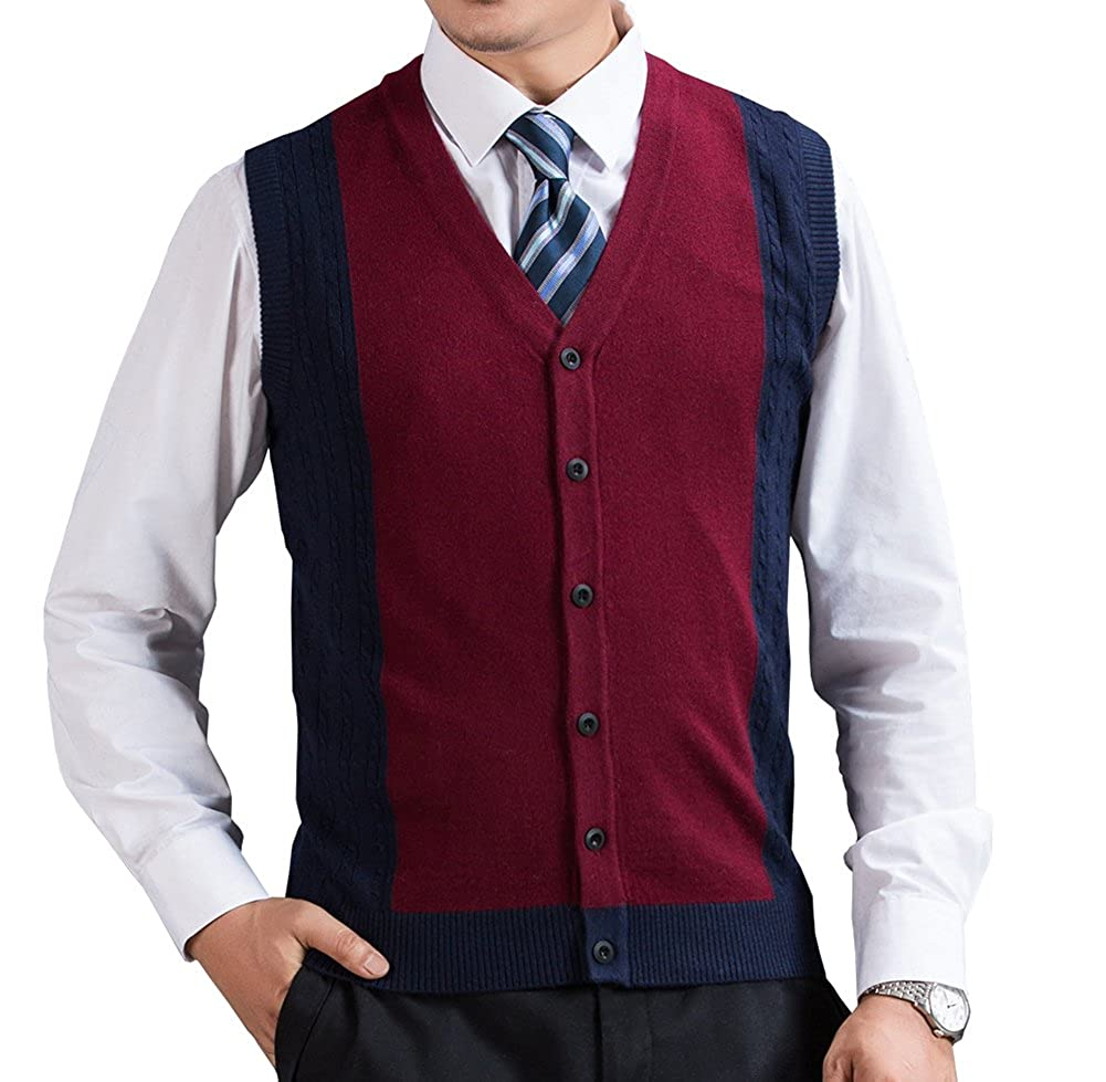 FULIER Mens V-Neck Novelty Winter Gilet Sleeveless Vest Waistcoat Classic Style Business Gentleman Knitwear Cardigans Knitted Sweater Tank Tops With Buttons For Men