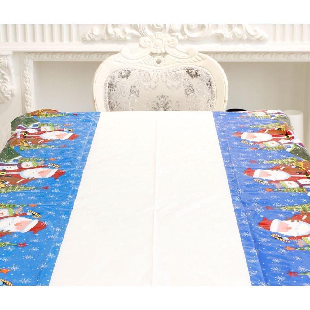 NINGSANJIN Nappe rectangulaire Nappe Papier PVC Merry Christmas Christmas Unique 110 * 180cm