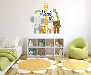 "Custom Name Jungle Animals - Baby Safari Zoo Animals Series Theme Wall Decal - Wall Decal for Nursery Bedroom playroom Decoration (Wide 16""x16"" Height)"
