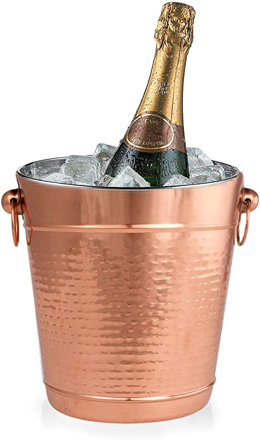 Copper Stainless Steel Champagne Bucket - Hammered Wine Bottle Cooler Ice Bucket- Durable Wine Ice Bucket - Copper Covered Stainless Steel Bucket - ...
