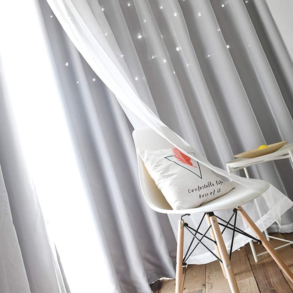 sal/ón Cortinas opacas con estrellas de WERTAZ cortinas opacas de doble capa con rayas huecas para habitaci/ón de los ni/ños