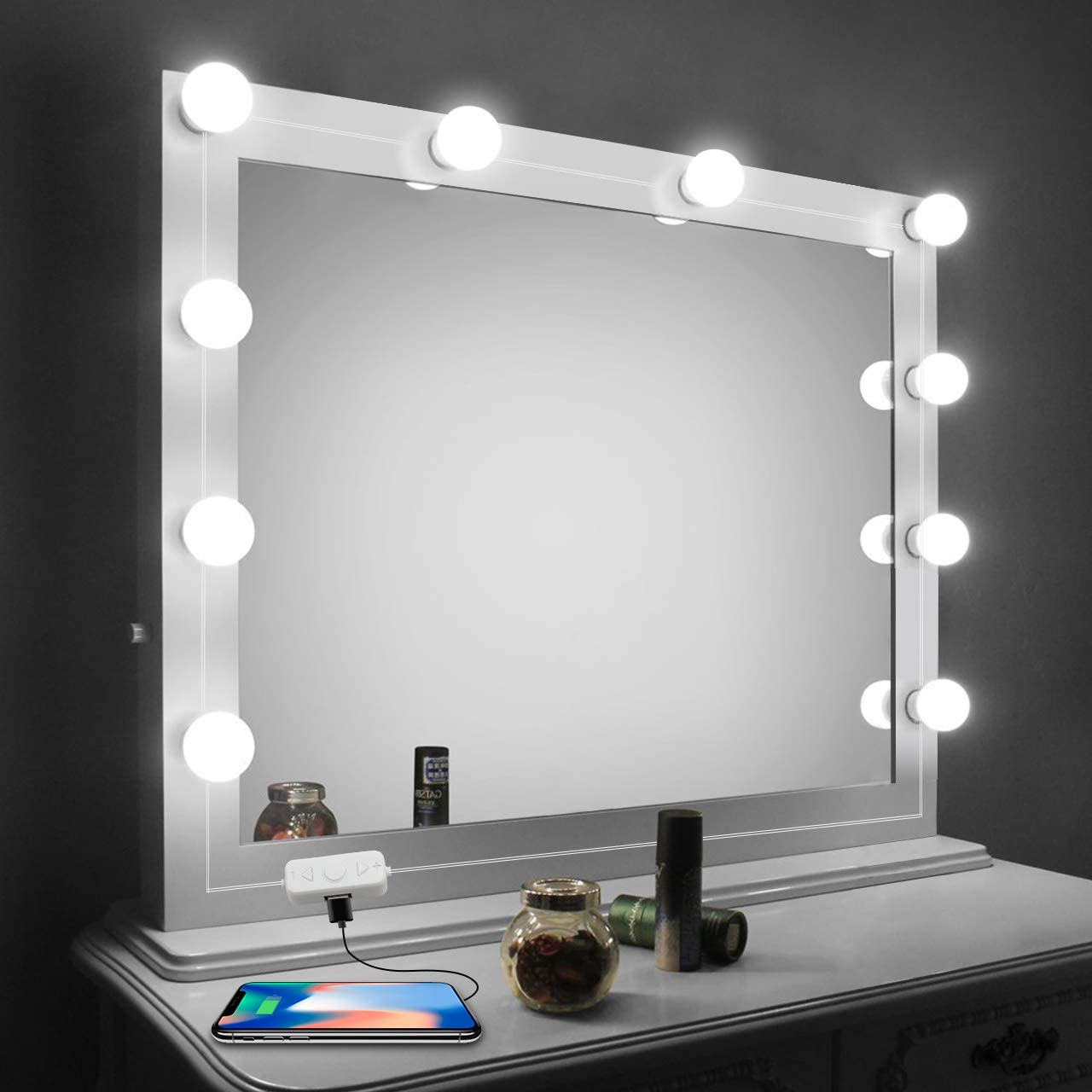 Vanity Mirror Lights Kit,LED Lights for Mirror with Dimmer and USB Phone  Charger,LED Makeup Mirror Lights Kit Hollywood Style Lighting Fixture Strip  ...