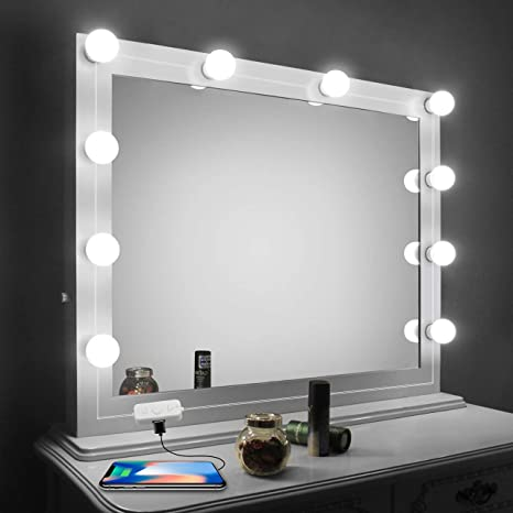 Vanity Mirror Lights Kit,LED Lights for Mirror with Dimmer and USB Phone  Charger,LED Makeup Mirror Lights Kit Hollywood Style Lighting Fixture Strip