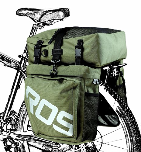 Bike Panniers Waterproof Bag - 3 in 1 Multi Function Messenger Panniers for Bicycles, Bicycle Rear Seat Trunk Bag, Bicycle Saddle Bag for Mountain Cycling by COCO (Army Green) by COCO (Image #6)