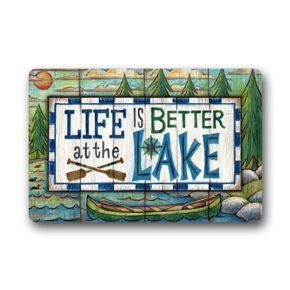 Roman's Doormat Custom Life Is Better At The Lake Indoor /Outdoor Doormat Door Mats Non Slip Non Slip Rubber Kitchen Rugs 23.6 X 15.7 Inch Roman's Doormat