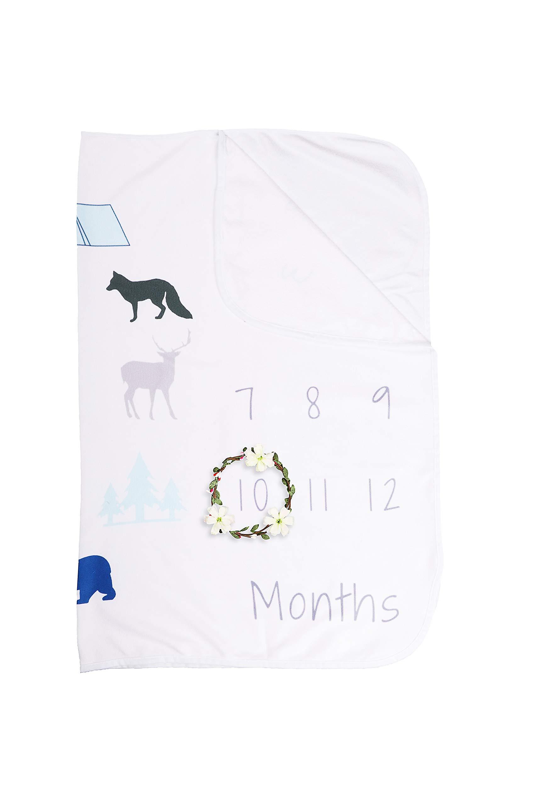 XNX Baby Milestone Blanket Newborn Photography Props Boy, Premium Fleece - New Mom Baby Shower Gifts shower gift