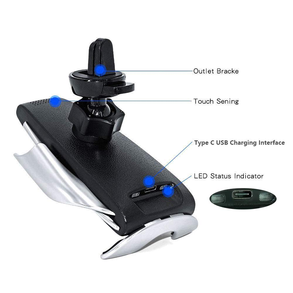 Note 9 8 5/&Qi TIMESS Samsung Galaxy S9+ S7//S7 Edge Infrared Penguin S5 Wireless Charger,Smart Automatic Clamping Fast Wireless Car Charger Infrared Auto-sens Air Vent Mount for iPhone Xs//XR//X//8//8 Plus