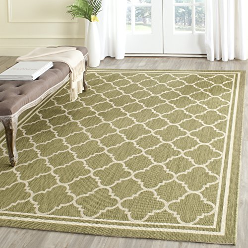 Safavieh Courtyard Collection CY6918-244 Green and Beige Indoor/ Outdoor Square Area Rug (7'10