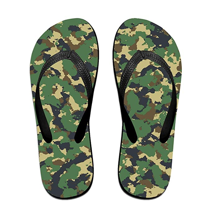 57d7dd5b02e1 Amazon.com  Green Camouflage Unisex Adults Casual Flip-Flops Sandal Pool  Party Slippers Bathroom Flats Open Toed Slide Shoes  Clothing