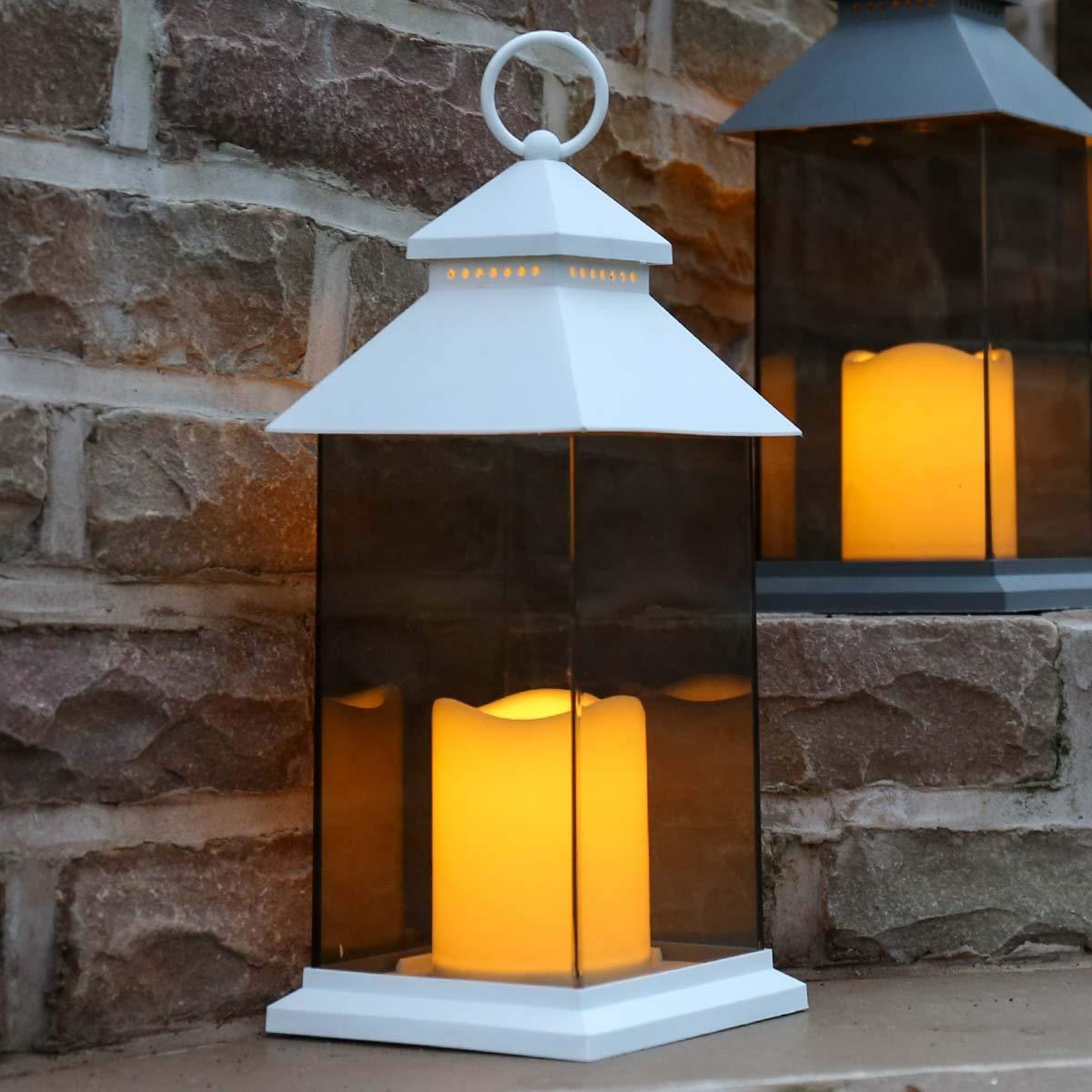 Paroi Incassable Effet Verre Teint/é Waterproof Lanterne avec Bougie LED /à Piles D/écoration Int/érieure//Ext/érieure Blanc, 31cm Gris Morderne et /Él/égante par Festive Lights Noir ou Blanc
