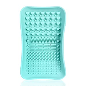 Brush Cleaning Mat,Silicone Makeup Cleaning Brush Scrubber Mat Portable Washing Tool Cosmetic Brush Cleaner for Valentines Day