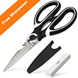 Kitchen Shears with Blade Cover and Sharpener, BASA Heavy Duty Stainless Steel Kitchen Scissors for Chicken, Poultry, Meat, Vegetables, Herbs (Black)