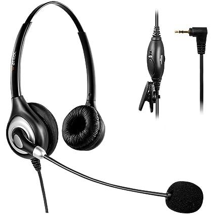Arama Auriculares 2,5 mm Binaural con Cancelación de Ruido Micrófono y Control de Volumen