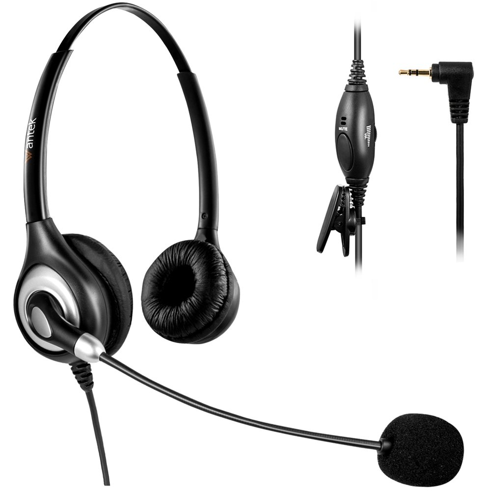 Arama Telephone Headset with Microphone Wired Phone Headset for Panasonic Cordless Phones with 2.5mm Jack Plus Many Other DECT Phones Polycom Grandstream Cisco Linksys SPA Zultys Gigaset IP