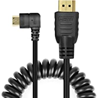 UCEC Right-Angled Coiled Mini HDMI to HDMI Male Cable High Speed Support 3D 1080p Ethernet & Audio Return