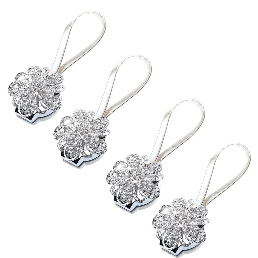 TEKEFT Set of 4 Crystal Curtain Magnetic Tieback Flower Curtain Clips Buckle with Stretchy Wire Rope for Home Office Decoration (Silver-B)