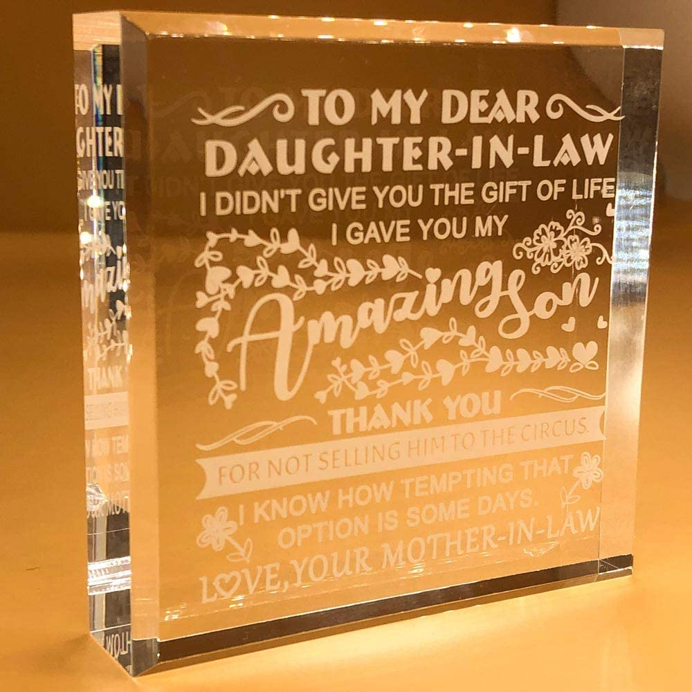 Daughter In Law Gifts From Mother In Law | Father | Women | Ideas | Christmas | Wedding | Birthday | Keepsake | Paperweight