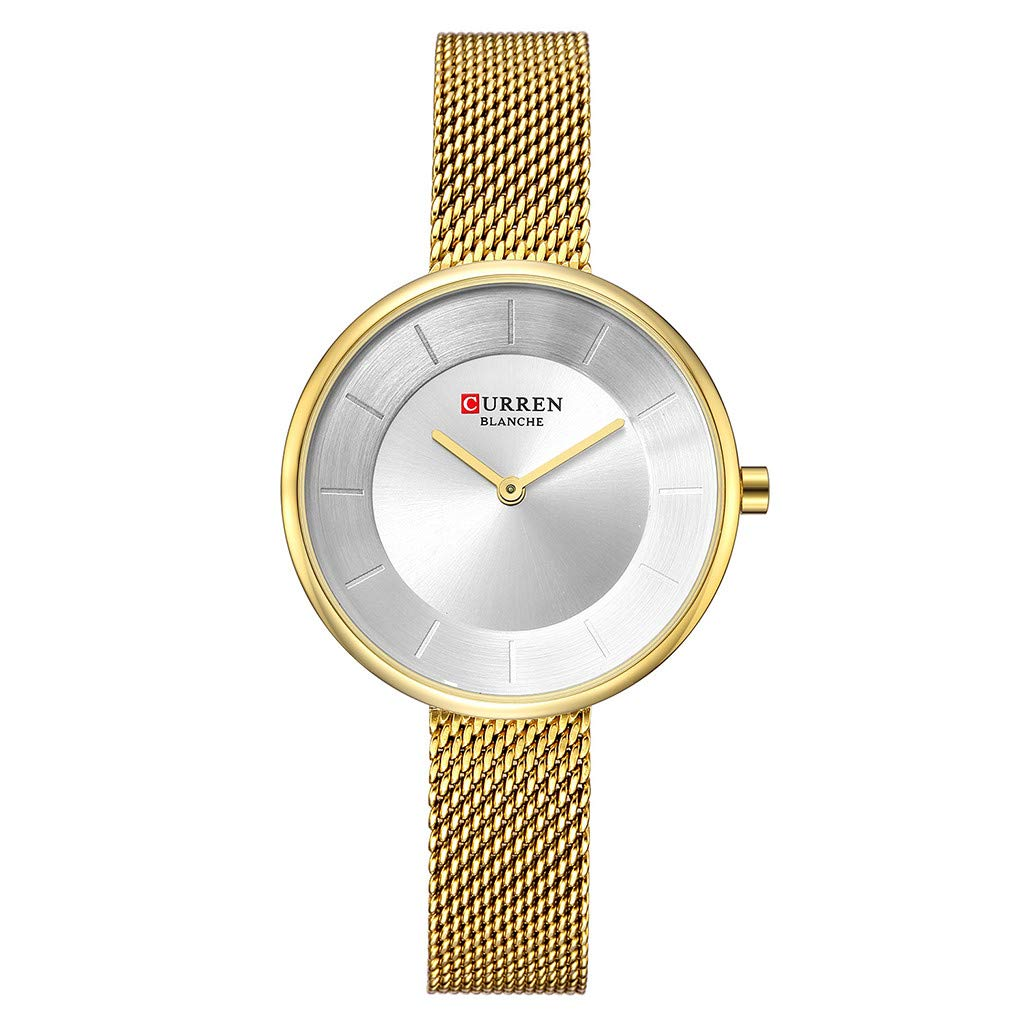 Women Watches for Sale,Fashion Women's Waterproof Round Watch Mesh With Small Dial Casual Watch(Gold)