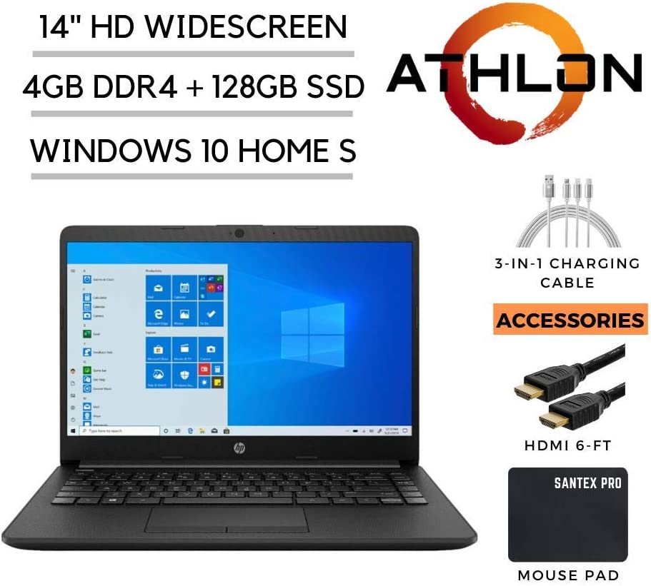 "2020_HP_14 Pavilion 14"" HD Laptop, AMD Athlon Silver 3050U 2.3GHz, 4GB DDR4 RAM, 128GB SSD, HDMI, 802.11ac, WiFi, Bluetooth, HDMI, Webcam, Windows 10 with Santex Pro Accessories"