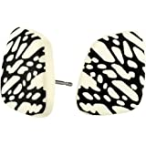 Stud Earring Black & White Speckle Effect (Cream Parallelogram) Made With Resin by JOE COOL