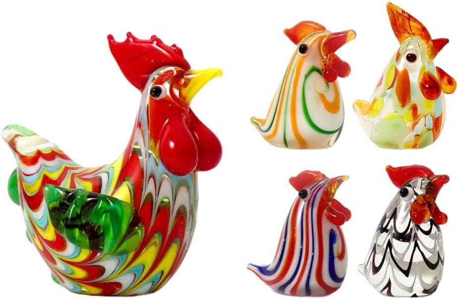 VALICLUD 5pcs Handmade Mini Chicken Blown Glass Art Bird Animal Figurines Easter Chicken Rooster Figures Miniature for Easter Home Room Garden Table Decor