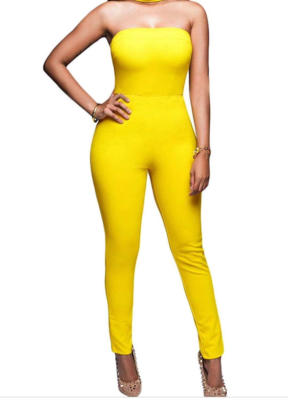 Bling-Bling Dress Women's Strapless Choker Jumpsuit