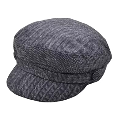36025403322 G H Men s Herringbone Dark Grey Wool Breton Sailing Fisherman s Cap ...