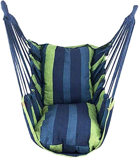 Karamoda Comfortable Hammocks for Trees Hanging Swing Chair, Durable Cotton Weave with Two Pillowes, Enjoy Summer Cool for Outdoor Garden Hammock Kit Set Blue 1x Hammock 2 X Straps 2X Pillow