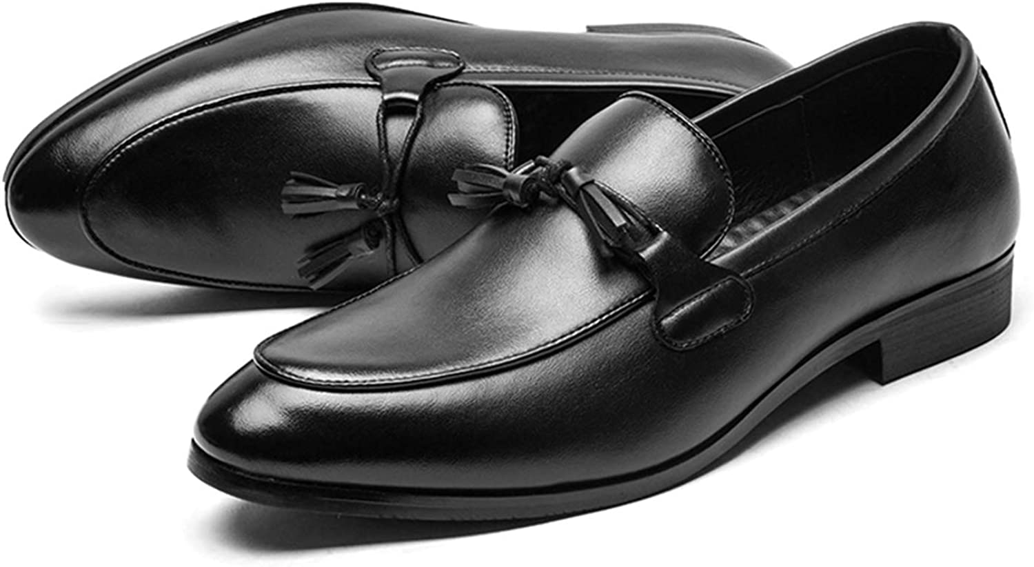 LEOED Mens Loafer Shoes Business Casual Leather Shoes with Tassel Modern Fashion Pointed Toe Dress Shoes Size 6-10