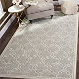 Safavieh Amherst Collection AMT412B Light Grey and Ivory Indoor/ Outdoor Square Area Rug (7' Square)