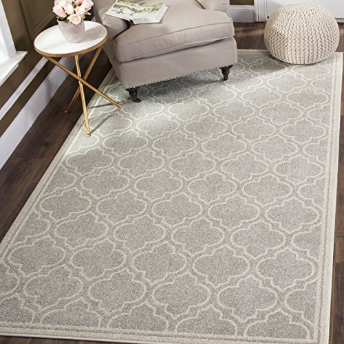 Safavieh Amherst Collection AMT412B Light Grey and Ivory Indoor/ Outdoor Area Rug (5' x - White Area Rug Transitional