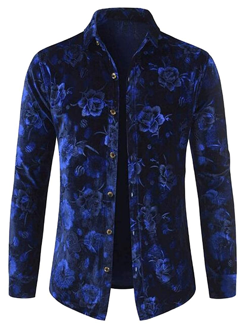 Teapolity Mens Long Sleeve Slim Button Down Floral Print Dress Shirts