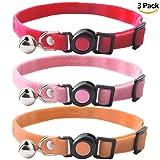 JIATECCO 3 Pack Velvet Breakaway Safe Cat Collar