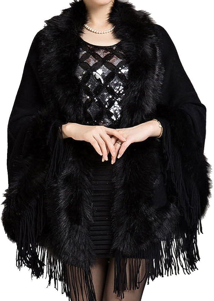 Helan Womens Faux Mink Fur Shawl Cloak Cape Coat with Tassels
