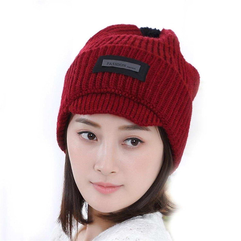 Elaco Women Braided Lady Warm Baggy Winter Beanie Knit Crochet Ski Hat (Red)