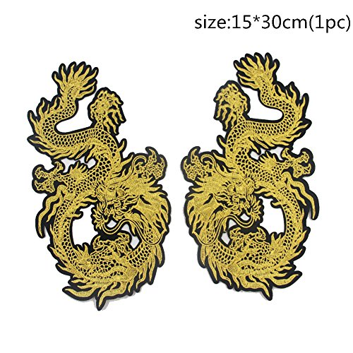 ragon Animal Embroidered Patches Iron on Sew for Clothes Applique DIY Sticker Parches Down Jacket Party (Embroidered Dragon Patches)
