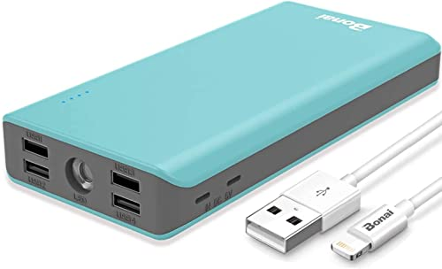 BONAI 5.6A 4-port 30,000mAh Portable Charger- Mint