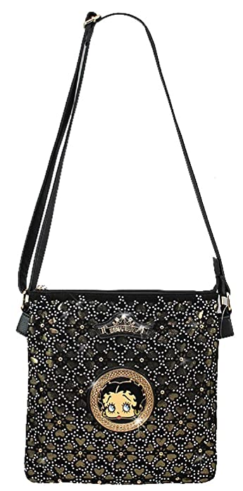 6ee9a7812ad1 Licensed Betty Boop Cutwork Bling Messenger Bag Handbag Purse Studded  KF-4607 (Black)