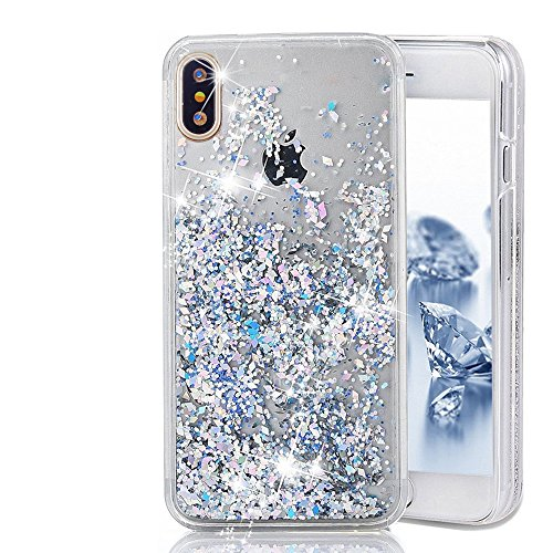 Price comparison product image iPhone X Glitter Case, iphone X Liquid case, MEIQING Moving Bling Glitter Floating Cover for iPhone X iPhone 10 with a Screen Protector (Silver)