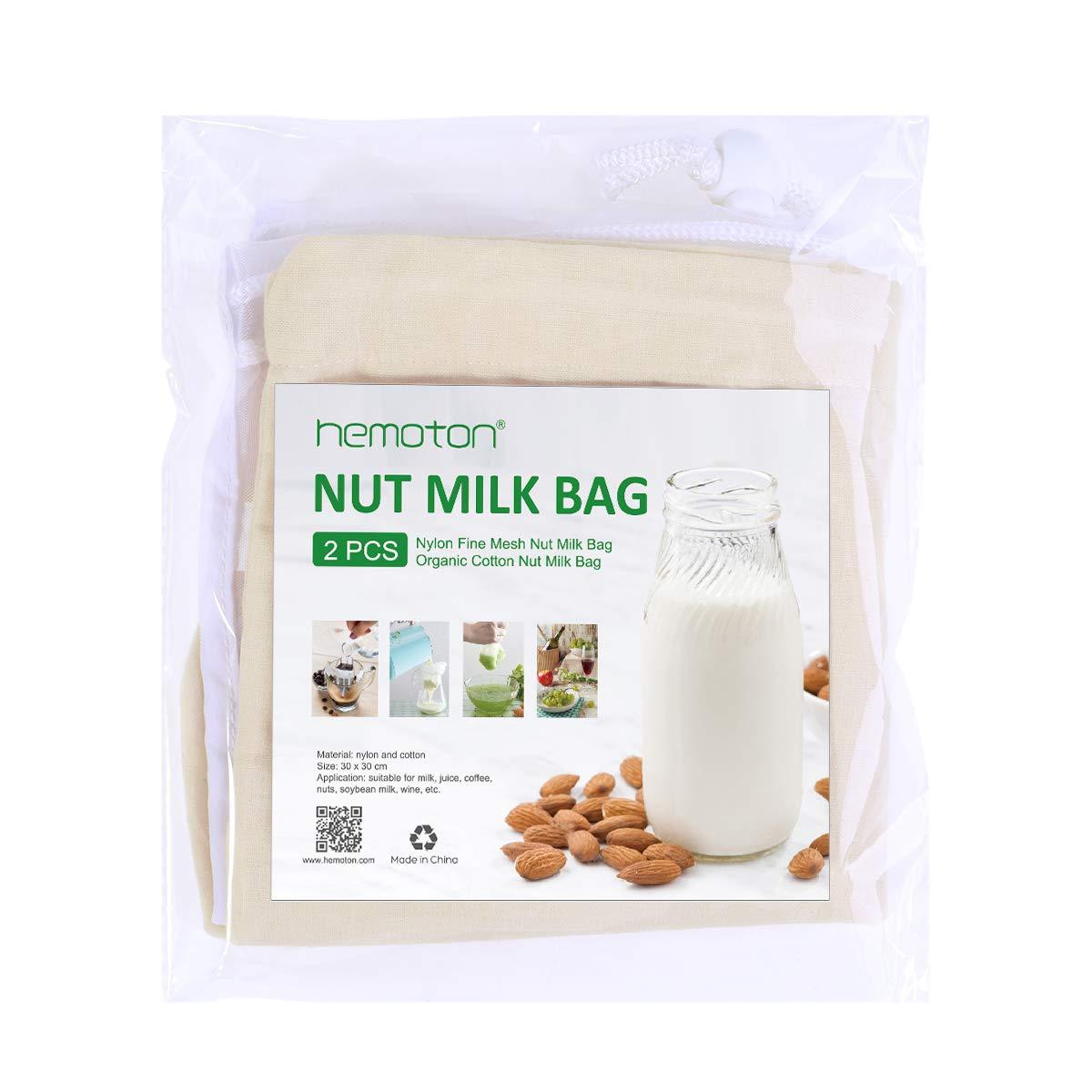 Hemoton Lot de 2 sacs en nylon /à mailles fines r/éutilisables et en coton organique pour lait de noix v/ég/étal Nusslait damande fruit/é 30 x 30 cm