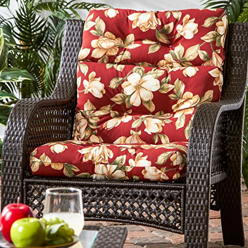 Greendale Home Fashions Indoor Outdoor High Back Chair Cushion, Roma Floral