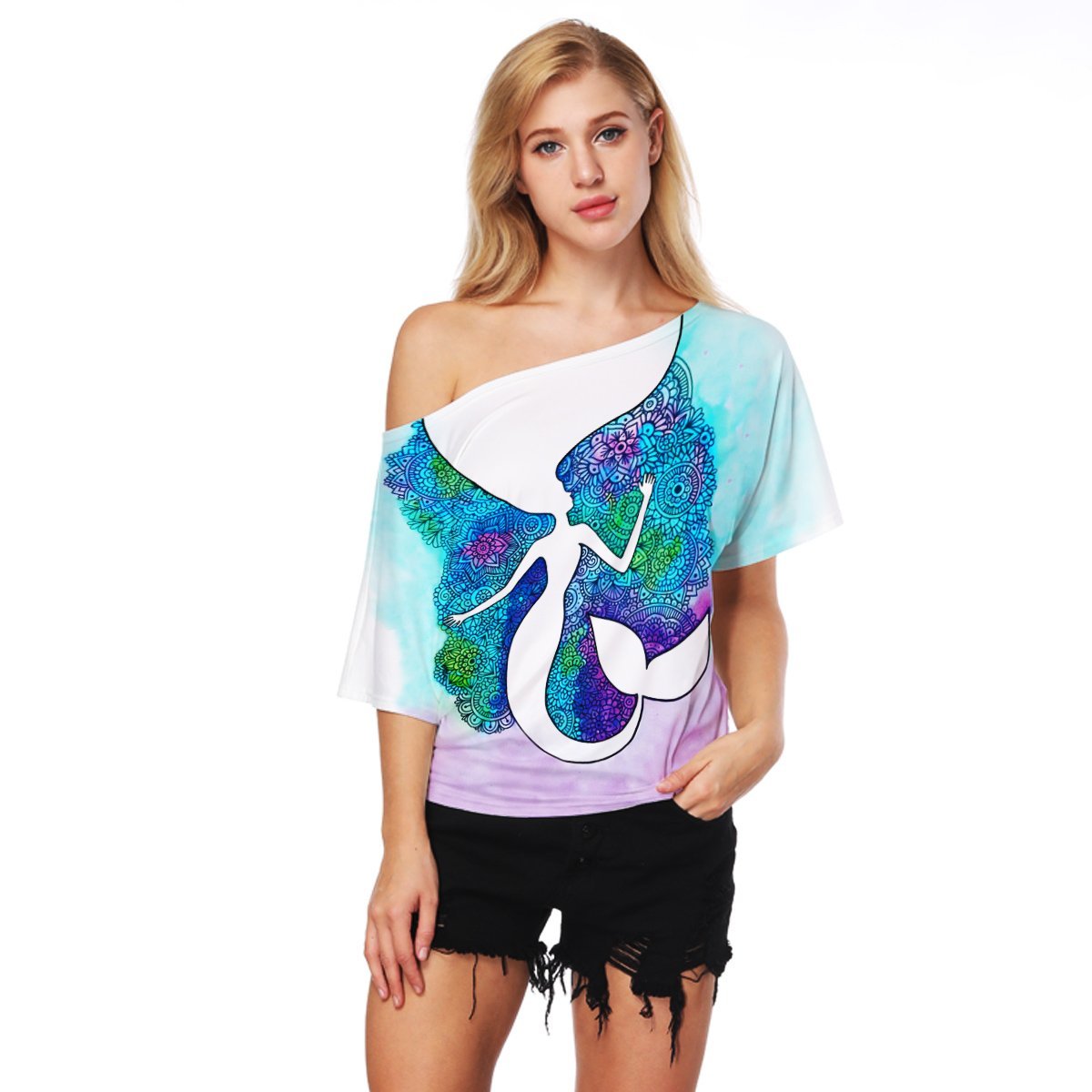 Women's Off Shoulder Short Sleeve Loose Fit Batwing Print T Shirts Tops Blouses (Mermaid 003, S)