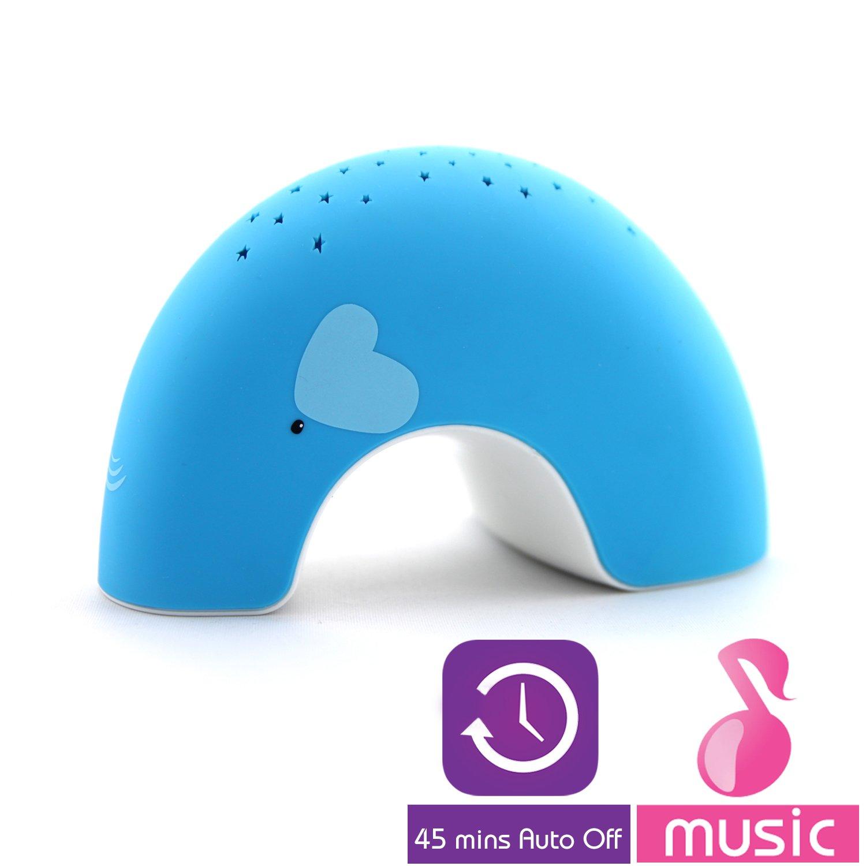 Lumitusi–EllyEasy Clean, Lullaby crepúsculo constelación elefante proyector luz de noche con música, acabado en caucho azul Elly (Blue) STA101BMB