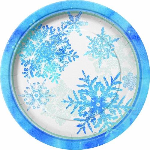 Blue & White Snowflake Dinner Plates, 8ct ()