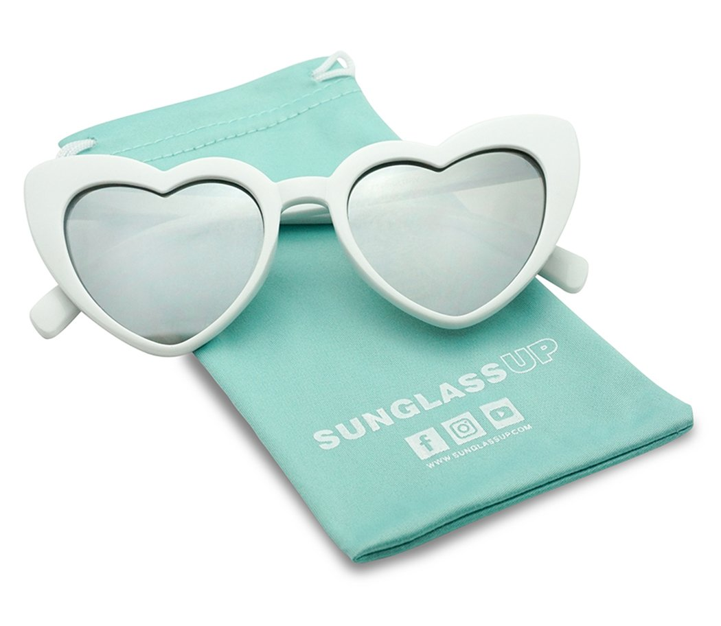 Oversized Heart-Shaped Round Colorful Flat Mirror Lens Love Sun Glasses (White Frame, Silver Mirror)