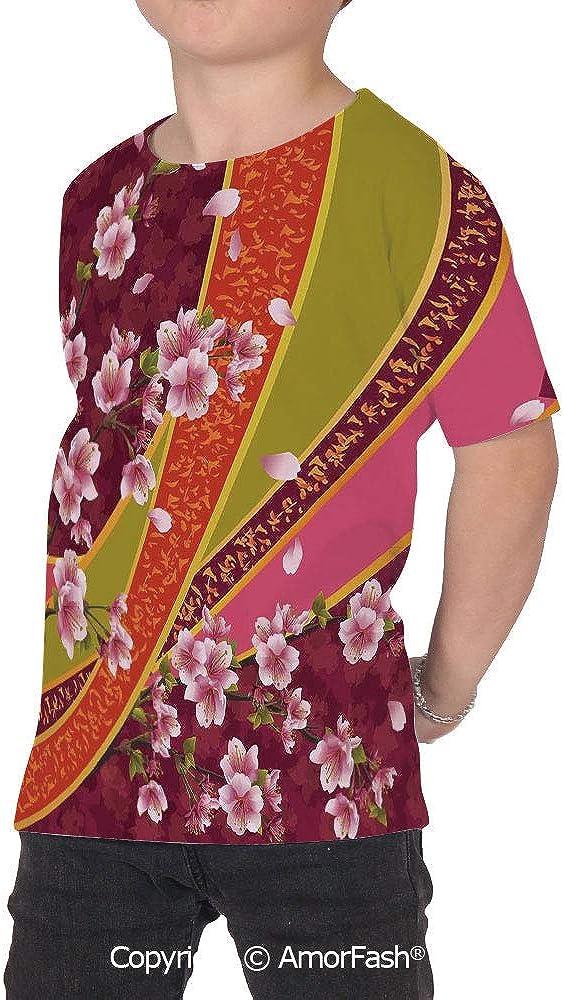 Flower Distinctive Childrens Premium Polyester T-Shirt,XS-2XL,Oriental Backdrop