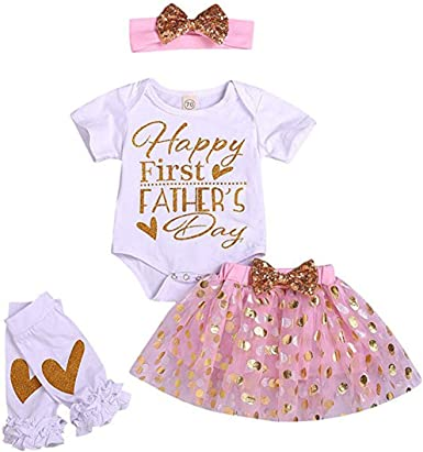 Happy 1st Mothers Day Baby Girl Outfit Romper Bodysuit Tops Floral Shorts with Hat Headband 4Pcs Clothes Set