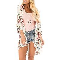 32b03222e8e PINKMILLY Women s Floral Print Kimono Sheer Chiffon Loose Cardigan